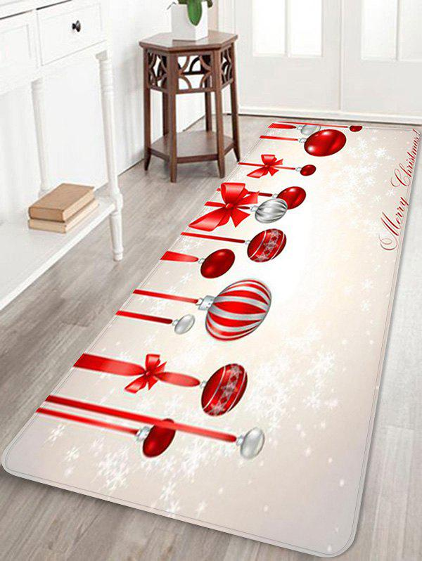 Christmas Balls Pattern Water Absorption Non-slip Area Rug - multicolor W24 X L71 INCH