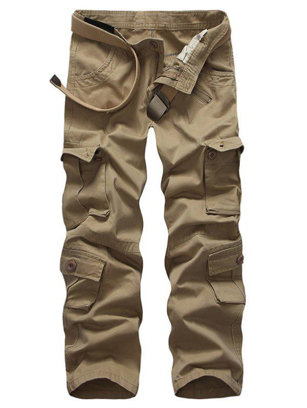 Zip Up Multi Pockets Solid Cargo Pants