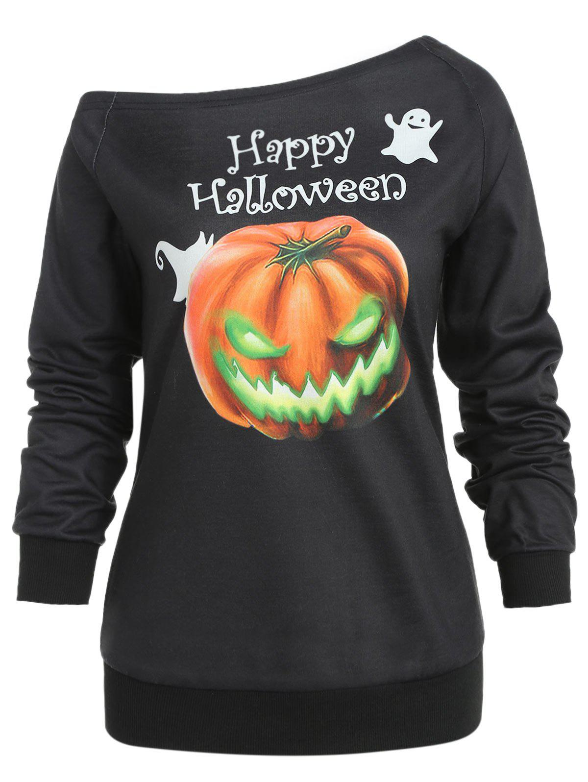 Hallowmas One Shoulder Sweatshirt - BLACK XL