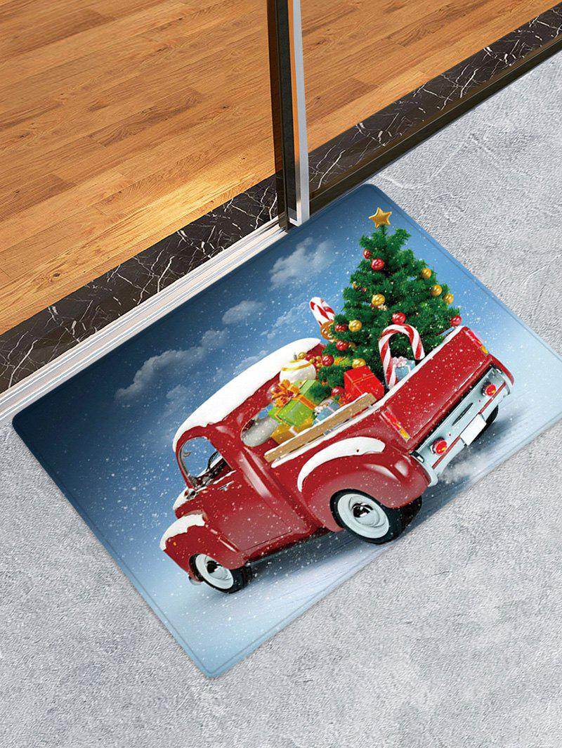 Christmas Tree Car Pattern Water Absorption Floor Rug - multicolor W24 X L35.5 INCH