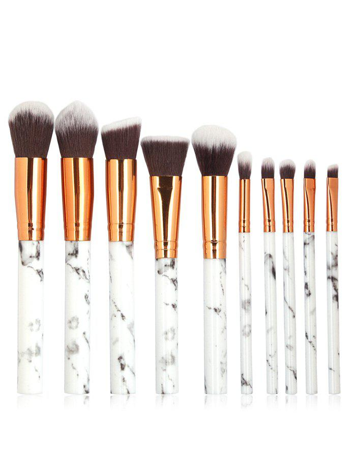 Image of 10 Pcs Marble Handles Extra Soft Silky Travel Makeup Brush Suit