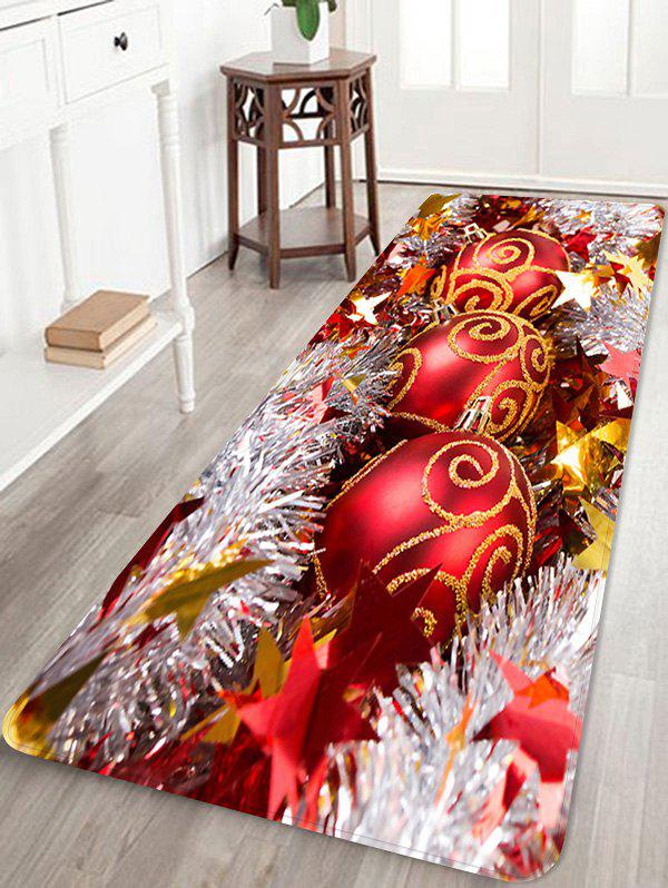 Christmas Balls Stars Pattern Anti-skid Water Absorption Area Rug - multicolor W24 X L71 INCH