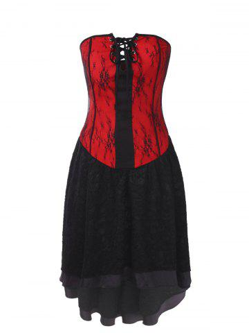 Gothic Lace Strapless Corset Dress