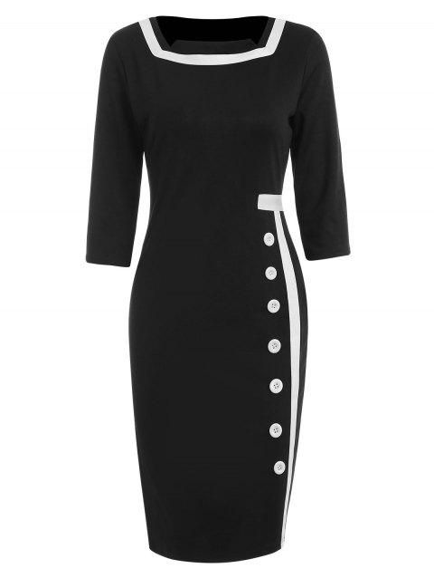 Two Tone Bodycon Dress with Buttons - BLACK L