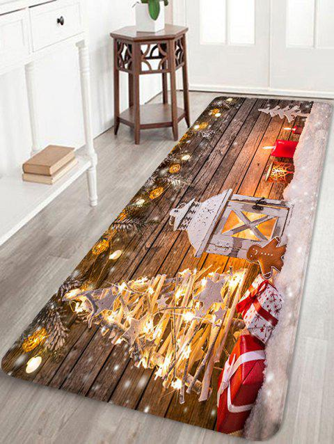 Christmas Lantern Gifts Pattern Anti-skid Water Absorption Area Rug - multicolor W24 X L71 INCH