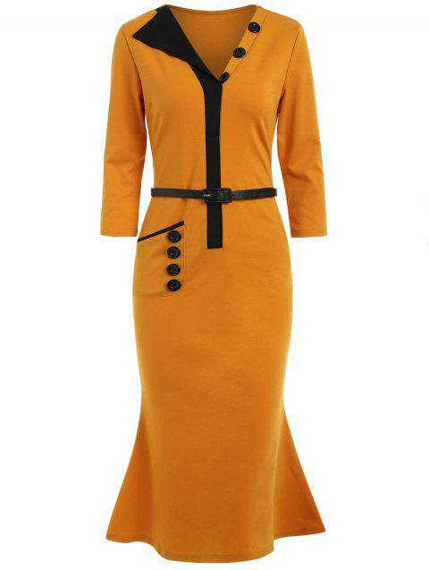 Buttons Embellished Belted Bodycon Dress - ORANGE GOLD M
