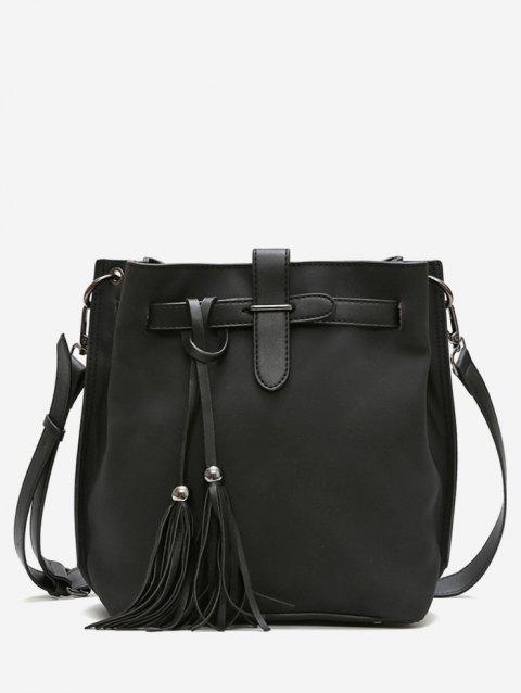 Bucket Tassel String Design Crossbody Bag - BLACK