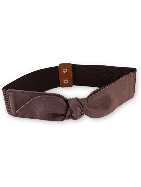 Elegant Bowknot Elastic Wide Waist Belt - COFFEE