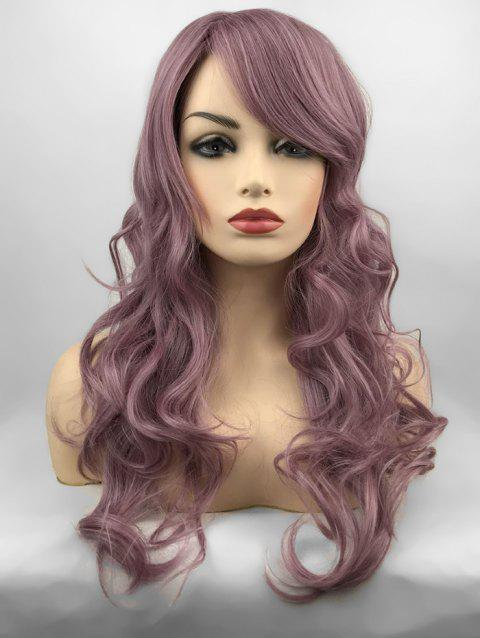 Inclined Bang Long Wavy Party Capless Synthetic Wig - WISTERIA PURPLE