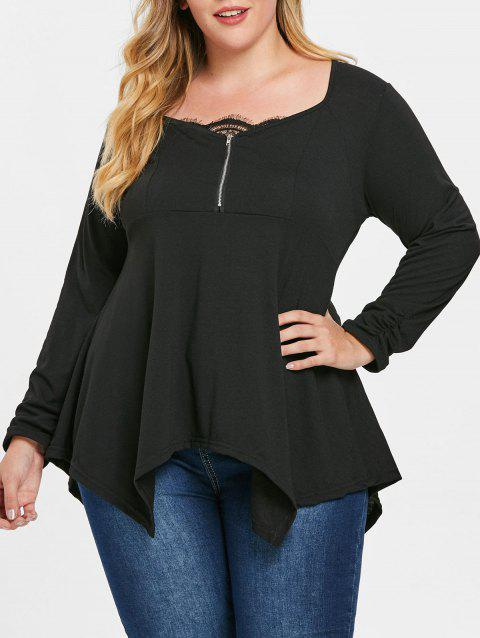 Lace Panel Plus Size Zip Embellished T-shirt - BLACK 4X
