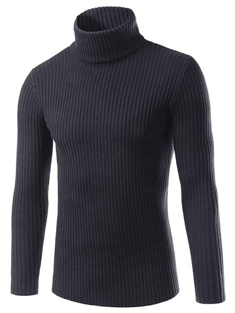 Turtle Neck Long Sleeve Solid Sweater - BLACK 3XL