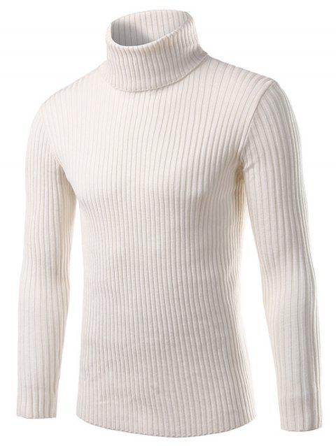 Turtle Neck Long Sleeve Solid Sweater - WHITE 3XL