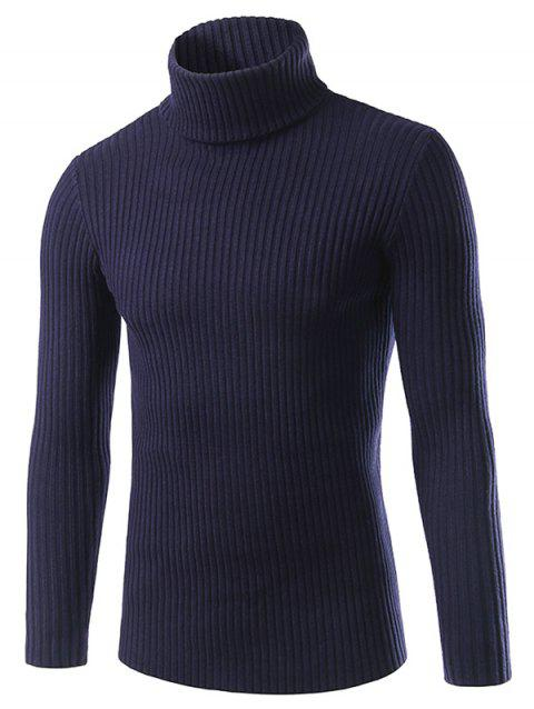 Turtle Neck Long Sleeve Solid Sweater - CADETBLUE 3XL