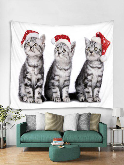 Christmas Cat Printed Tapestry Art Decoration - multicolor W79 X L59 INCH