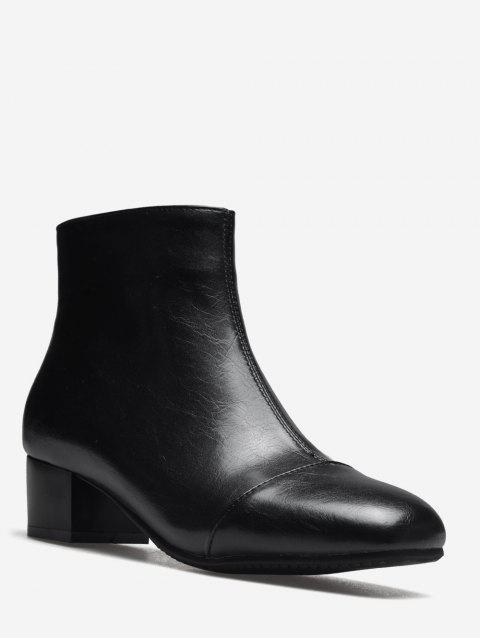 Plus Size Square Toe Ankle Boots - BLACK EU 36