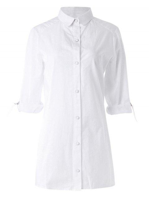 Side Slit Holey Shirt - WHITE M