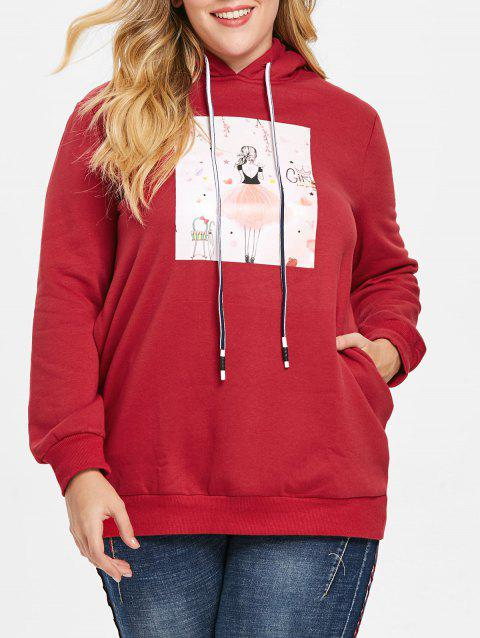 Plus Size Pullover Graphic Longline Hoodie - RED 1X