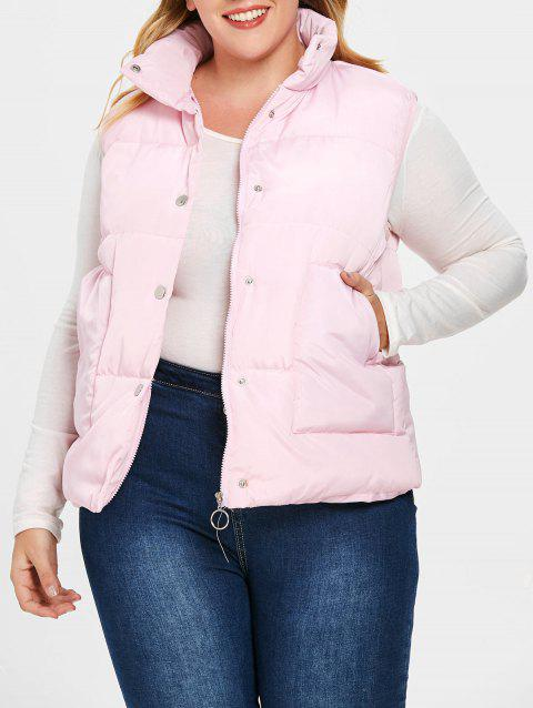 Plus Size Solid Color Padded Waistcoat - PINK L