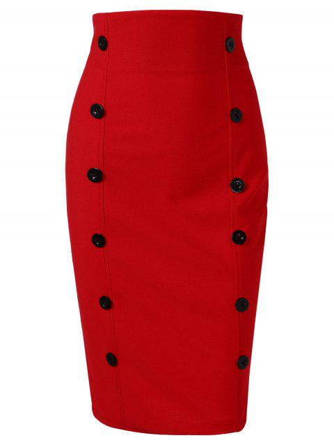 Contrast Ruffled Midi Bodycon Skirt - RED M