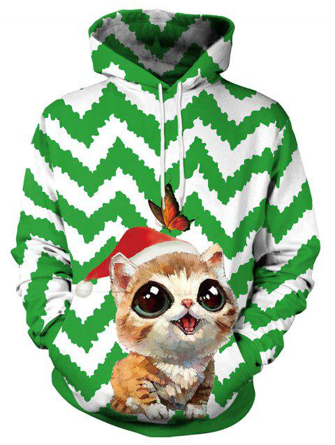 Christmas Cat and Butterfly Print Pullover Hoodie - GREEN XL
