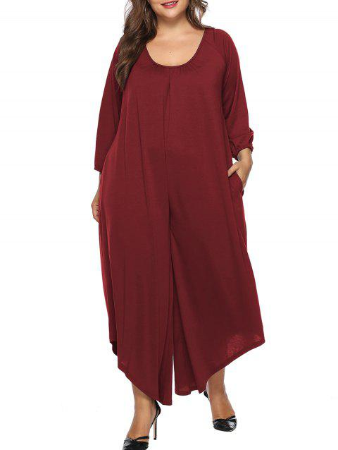 Plus Size Backless Wide Leg Jumpsuit - RED WINE 2X