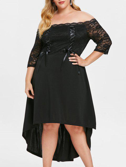 Plus Size Lace Up High Low Off Shoulder Dress - BLACK L