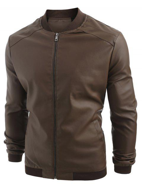 PU Leather Zip Up Solid Jacket - DEEP BROWN M
