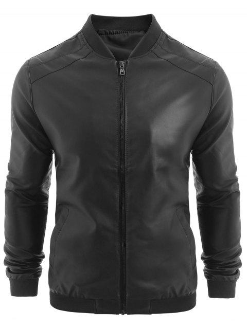 PU Leather Zip Up Solid Jacket - BLACK 2XL
