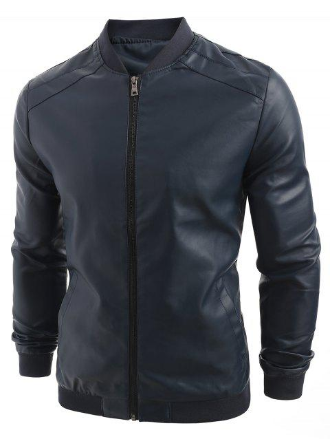 PU Leather Zip Up Solid Jacket - DEEP BLUE XL