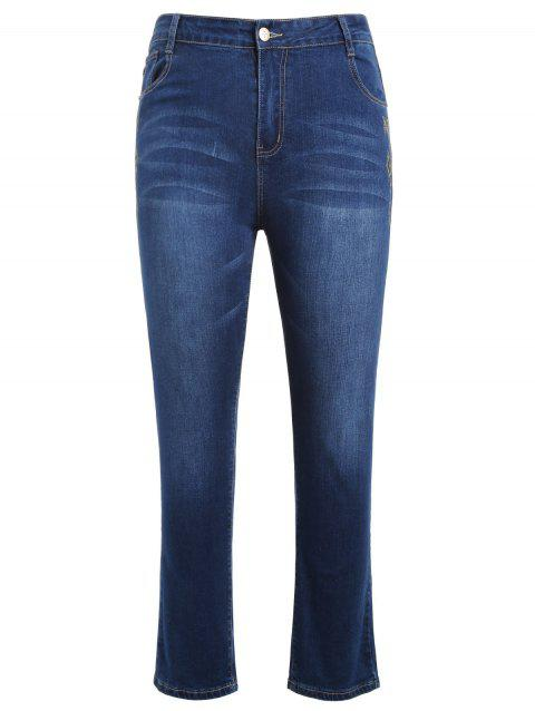 Plus Size Zipper Fly Embroidered Jeans - BLUE L