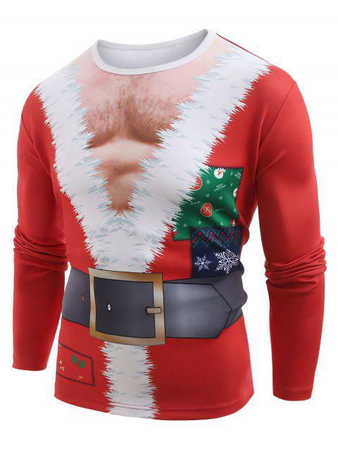 Funny Santa Muscle Clothes Print Christmas T-shirt - LAVA RED 2XL