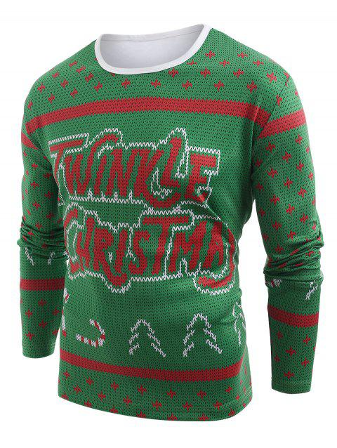 Knitted Sweater Print Christmas Long Sleeve T-shirt - MEDIUM SPRING GREEN M