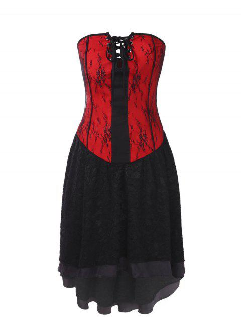 Gothic Lace Strapless Corset Dress - RED M