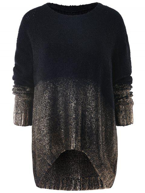 High Low Sequined Knit Sweater - GOLD ONE SIZE