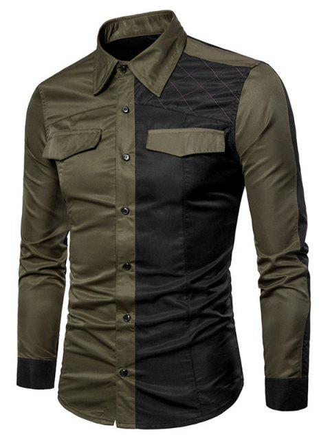 Casual Contrast Color Long Sleeve Shirt - ARMY GREEN M