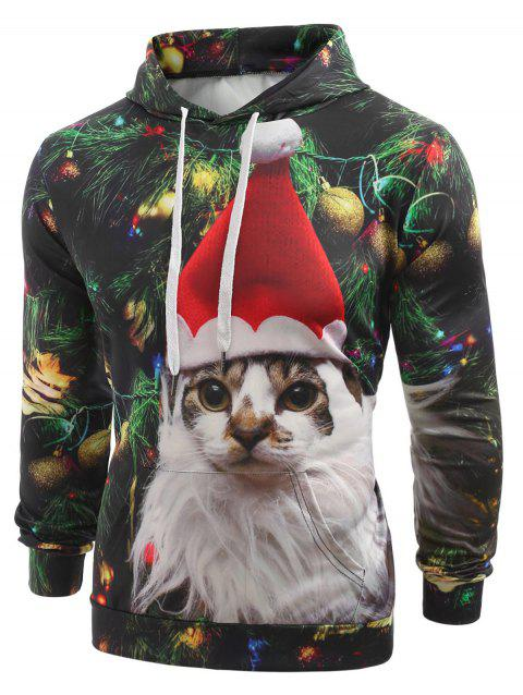 Cat with Christmas Hat Baubles Printed Casual Hoodie - MEDIUM FOREST GREEN M