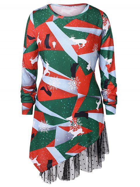 Plus Size Printed Asymmetrical Christmas T-shirt - multicolor 3X