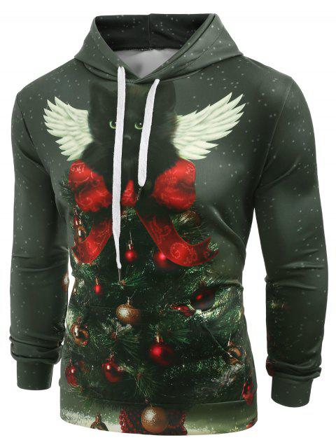 Christmas Tree Cat with Wing Print Casual Hoodie - DARK FOREST GREEN XL