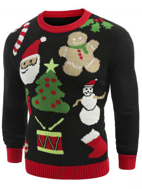 Christmas Theme Printed Crew Neck Sweater - BLACK 2XL