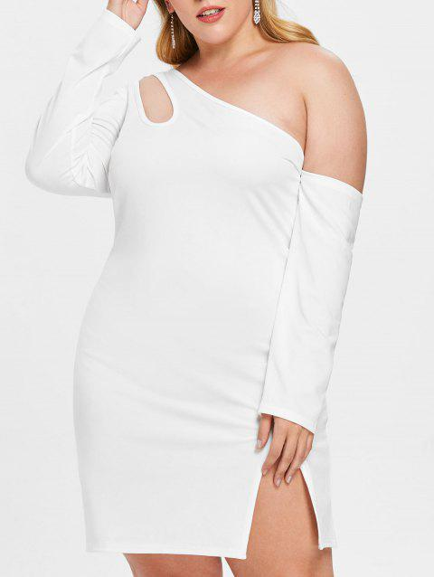Plus Size Skew Neck Cutout Slit Mini Dress