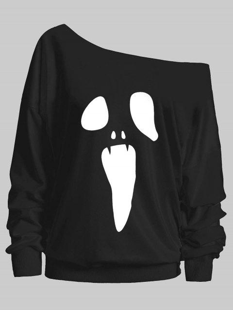 Plus Size Scary Face Drop Shoulder Sweatshirt - BLACK L