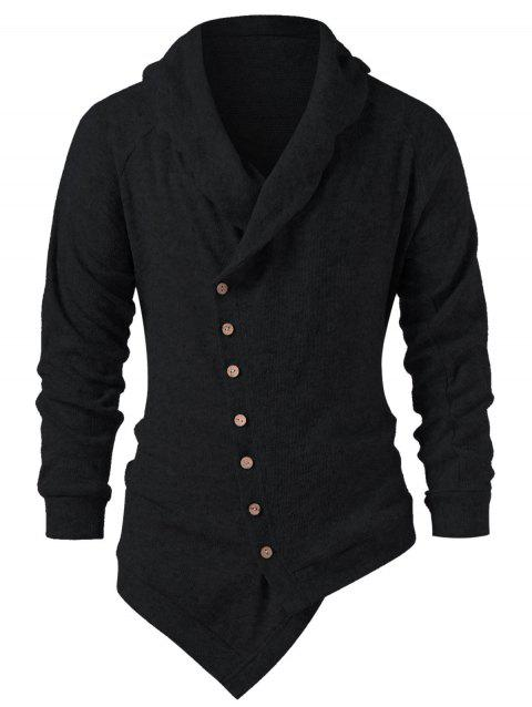Button Up Solid Collar Asymmetric Cardigan - BLACK L