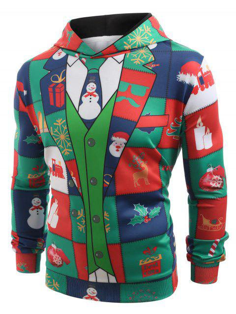 Funny Christmas Elements Blazer Print Hoodie - multicolor 2XL