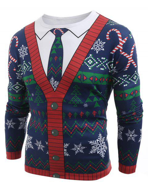 Christmas Cardigan Printed Long Sleeve T-shirt - multicolor A 2XL