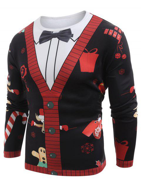 Christmas Cardigan Blazer Printed Long Sleeve T-shirt - multicolor A L