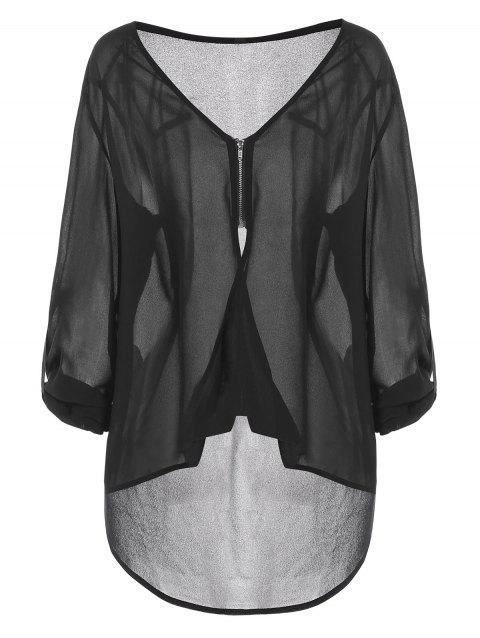 Plus Size See Through Zip High Low Blouse - BLACK 3X