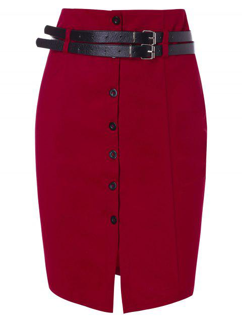 Double Belts Button Up Pencil Skirt - RED WINE M