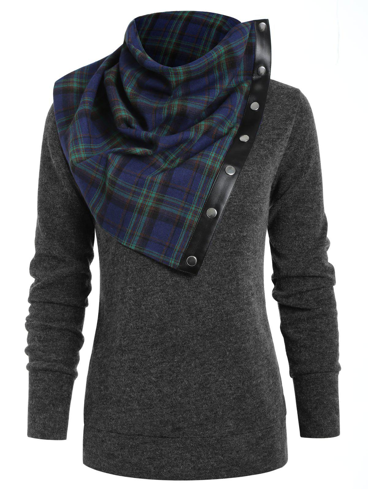 Sweat-shirt Simple Col à Tartan - Gris Foncé XL