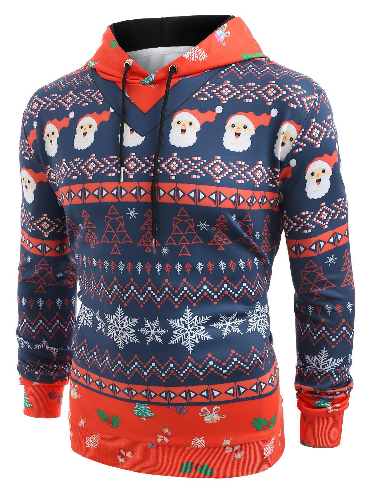 Layered Christmas Elements Print Hoodie - MIDNIGHT BLUE L