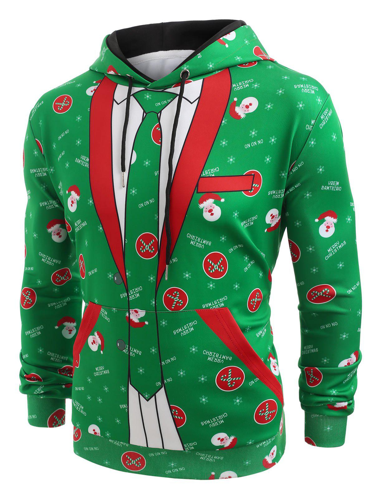Christmas Blazer Pocket Pullover Hoodie - CLOVER GREEN XL